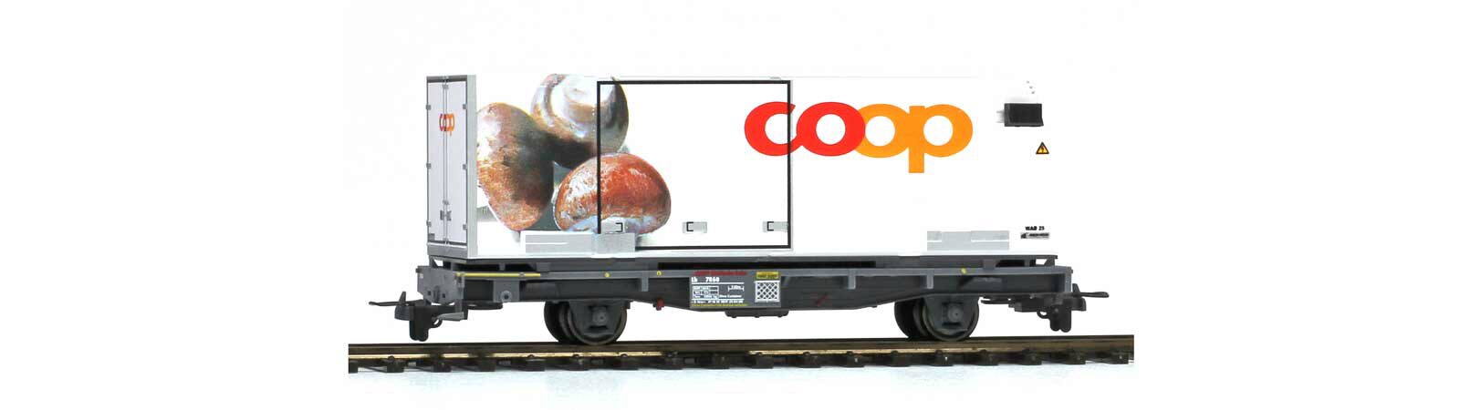 "Bemo 2269110 RhB Lb-v 7860 mit Coop-Container ""Champignons"""