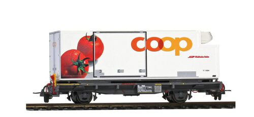 "Bemo 2269120 RhB Lb-v 7881 mit Coop-Container ""Tomate"""