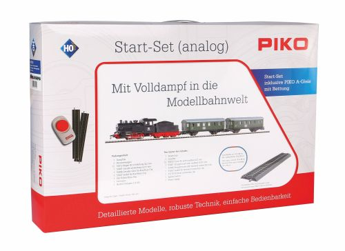 Piko 57112 Start-Set mit Bettung Personenzug Dampflok mit Tender