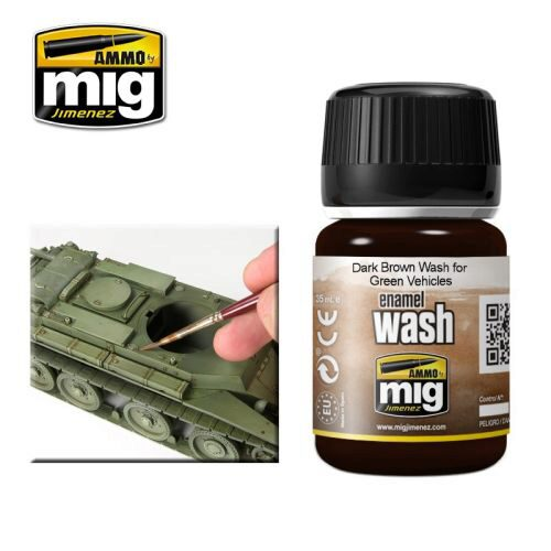 Ammo AMIG1005 ENAMEL WASHES DARK BROWN WASH FOR GREEN VEHICLES (35 mL)
