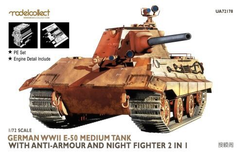 Modelcollect UA72178 Germany WWII E-50 Medium Tank with anti-armour and night fighter 2 in 1