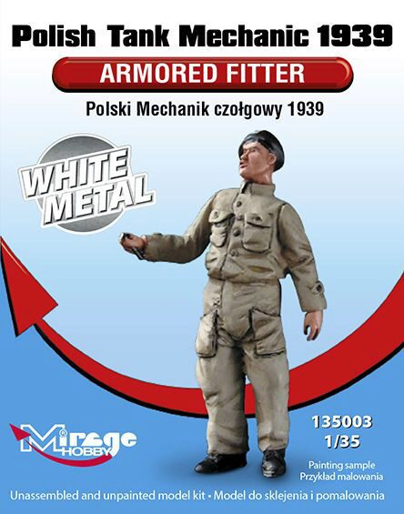 Mirage Hobby 135003 Polish Tank Mechanic 1939 Armored Fitter White Metal