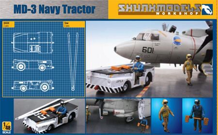SKUNKMODEL Workshop SW-48003 MD-3 NAVY TRACTOR SHORT TYPE with 3 figu