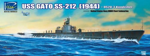 Riich Models RS20002 USS Gato SS-212 Fleet Submarine (1944)+ +OS2U-3 Kingfisher Floatplane