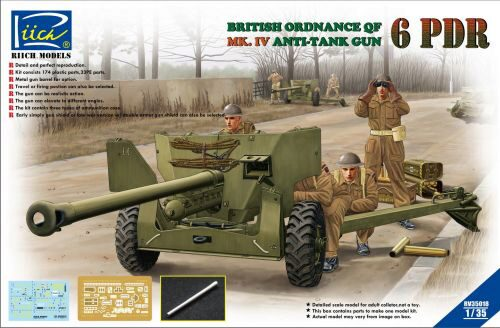 Riich Models RV35018 Ordanance QF 6-Pdr.MK.IV Late War Infant Anti-tank Gun(w/Metal gun Barrel