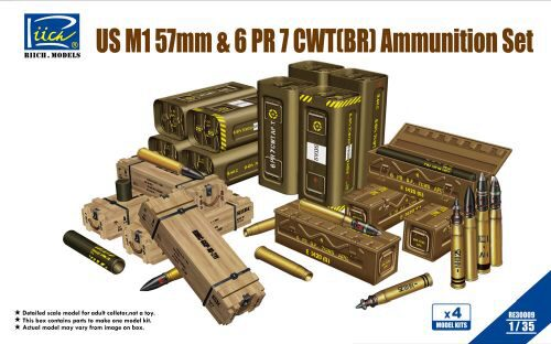 Riich Models RE30009 US M1 57mm&6PR 7cwt(BR)Ammunition Set(Mo (Model Kits x4)