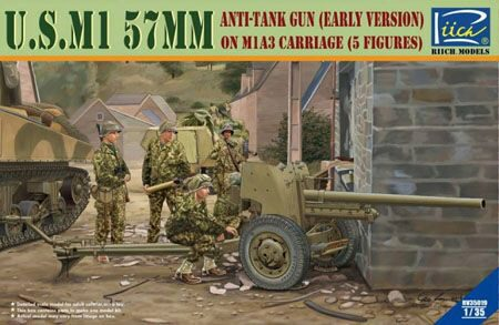 Riich Models RV35019 U.S.M1 57mm anti-tank Gun early version on M1A3 Carriage w/Crews (5 figu