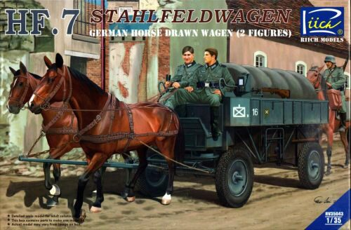 Riich Models RV35043 German Hf.7 Horse drawn Steel field wage w/2Horses &2 Figures