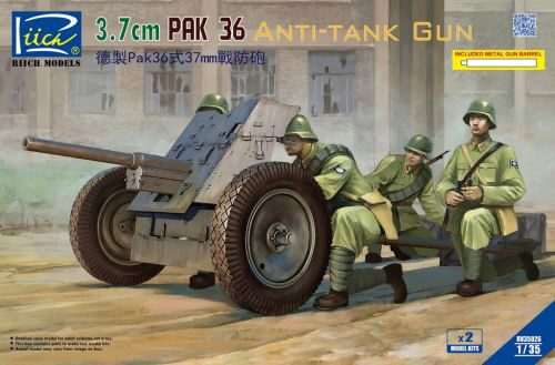 Riich Models RV35026 German 3.7cm Pak 36 Anti-Tank Gun(model kitsx2)w/Metal gun barrel