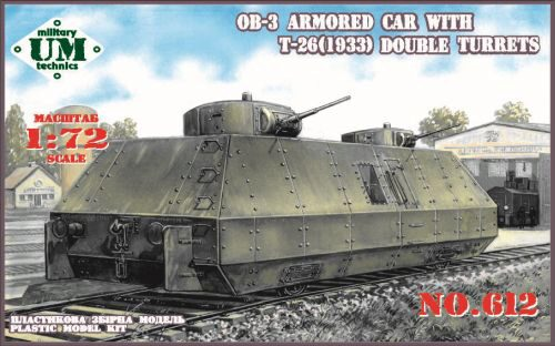 Unimodels UMT612 OB-3 armored railway car with two T-26