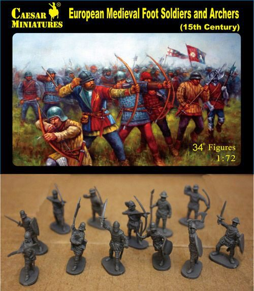 Caesar Miniatures H088 European Medieval Foot Soldiers+Archgers