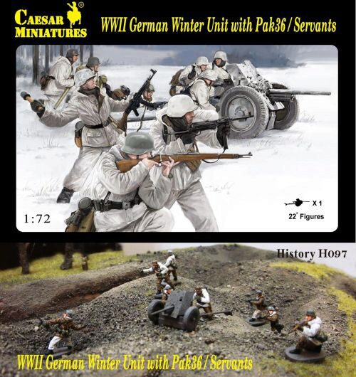 Caesar Miniatures H097 WWII German Winter Unit with Pak36 / Servants