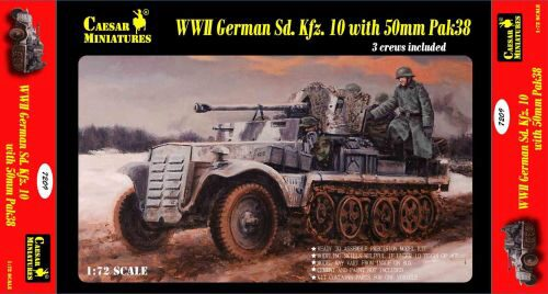 Caesar Miniatures 7209 WWII German Sd.Kfz.10 with 50mm Pak 38