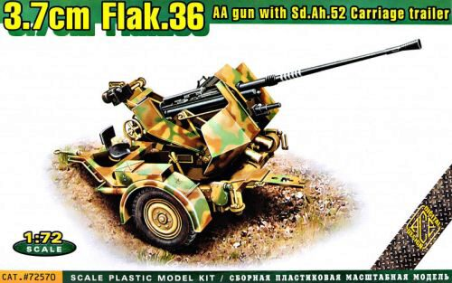ACE ACE72570 Flak.36  3.7cm. AA gun with Sd.Ah.52 carriage trailer