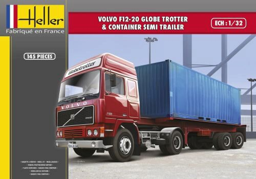 Heller 81702 VOLVO F12-20 Globetrotter & Container semi trailer