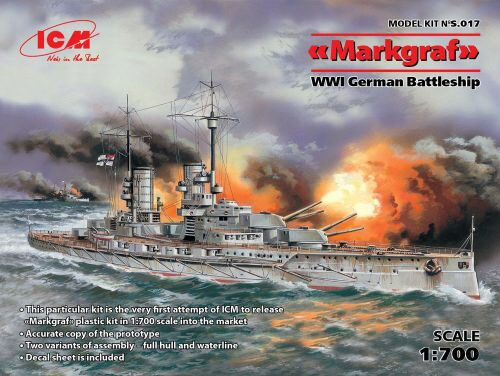 ICM S.017 Markgraf (full hull & waterline) WWI German Battleship