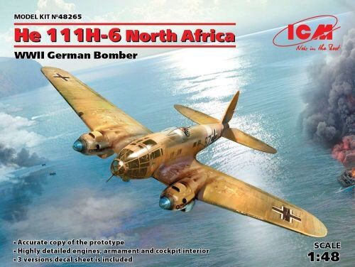 ICM 48265 He 111H-6 North Africa,WWII German Bombe Limited