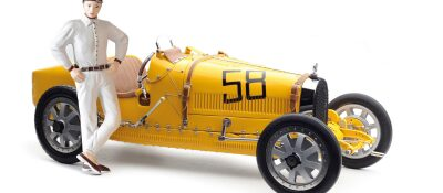CMC M-100-017 CMC Bugatti T35, Yellow Livery With a Female Racer Figurine Limited Edition 600 pcs.