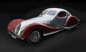 "CMC M-165 Talbot-Lago Coupé T150 C-SS Figoni & Falaschi ""Teardrop"", 1937-39 silver / red Limited Edition 1,500 pcs."