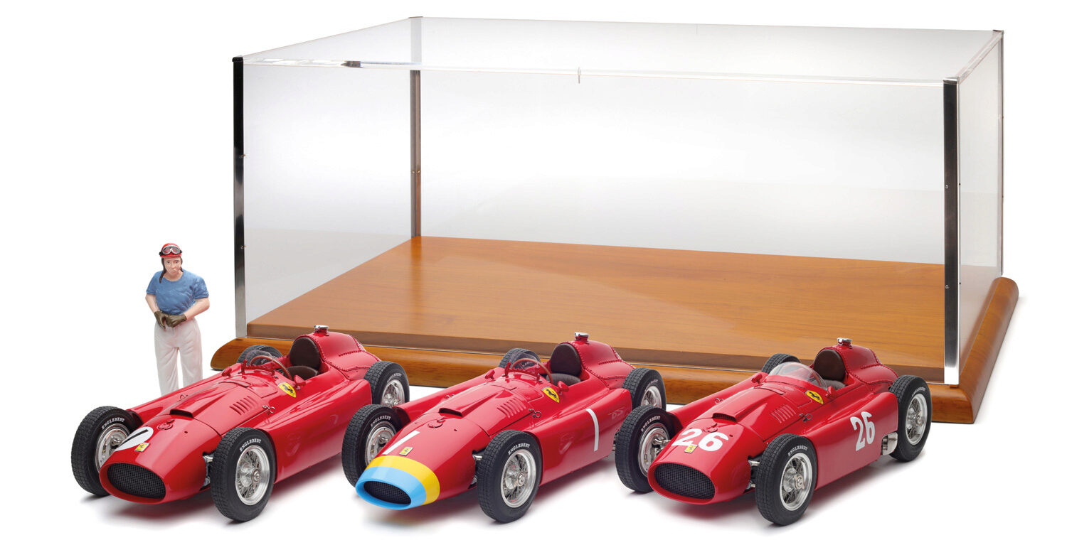 "CMC M-201 Lucky Set 2018 ""Fangio"": Ferrari D50 long nose GP Germany #1 Fangio + Ferrari D50 short nose GP England #1 Fangio + Ferrari D50 short nose GP Italy #26 Collins/Fangio + Showcase + Fangio Figurine, Limited Edition 200 pcs."