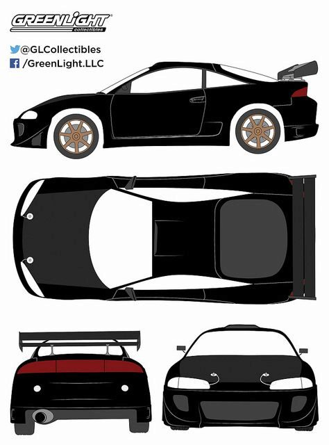 Greenlight 19040 1995 Mitsubishi Eclipse Black